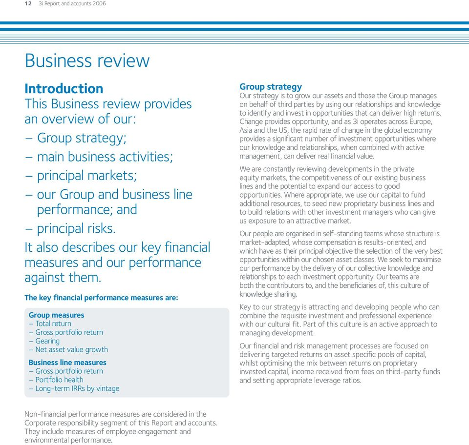 The key financial performance measures are: Group measures Total return Gross portfolio return Gearing Net asset value growth Business line measures Gross portfolio return Portfolio health Long-term