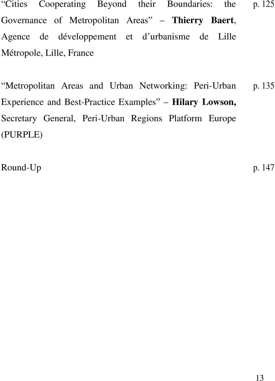 125 Metropolitan Areas and Urban Networking: Peri-Urban Experience and Best-Practice