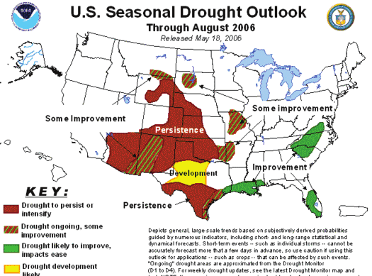 NATIONAL WEATHER SERVICE Page 3 U.S. Seasonal Drought Outlook: The U.S. Seasonal Drought Outlook shows predicted trends for ongoing drought areas depicted in the U.S. Drought Monitor, as well as indicating areas where new droughts may develop.