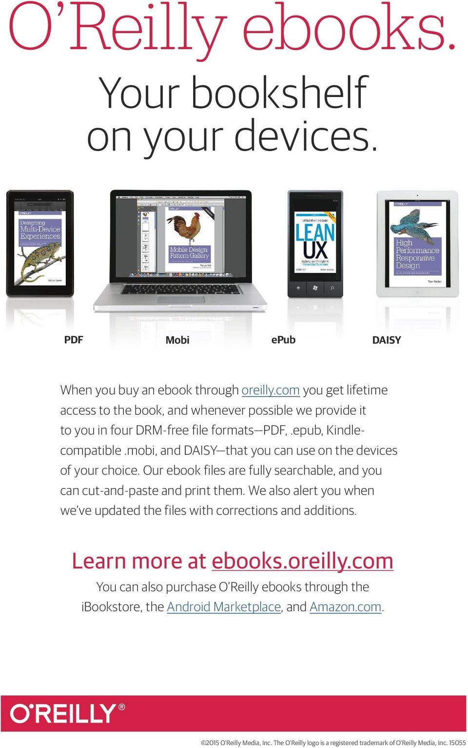 mobi, and DAISY that you can use on the devices of your choice. Our ebook files are fully searchable, and you can cut-and-paste and print them.
