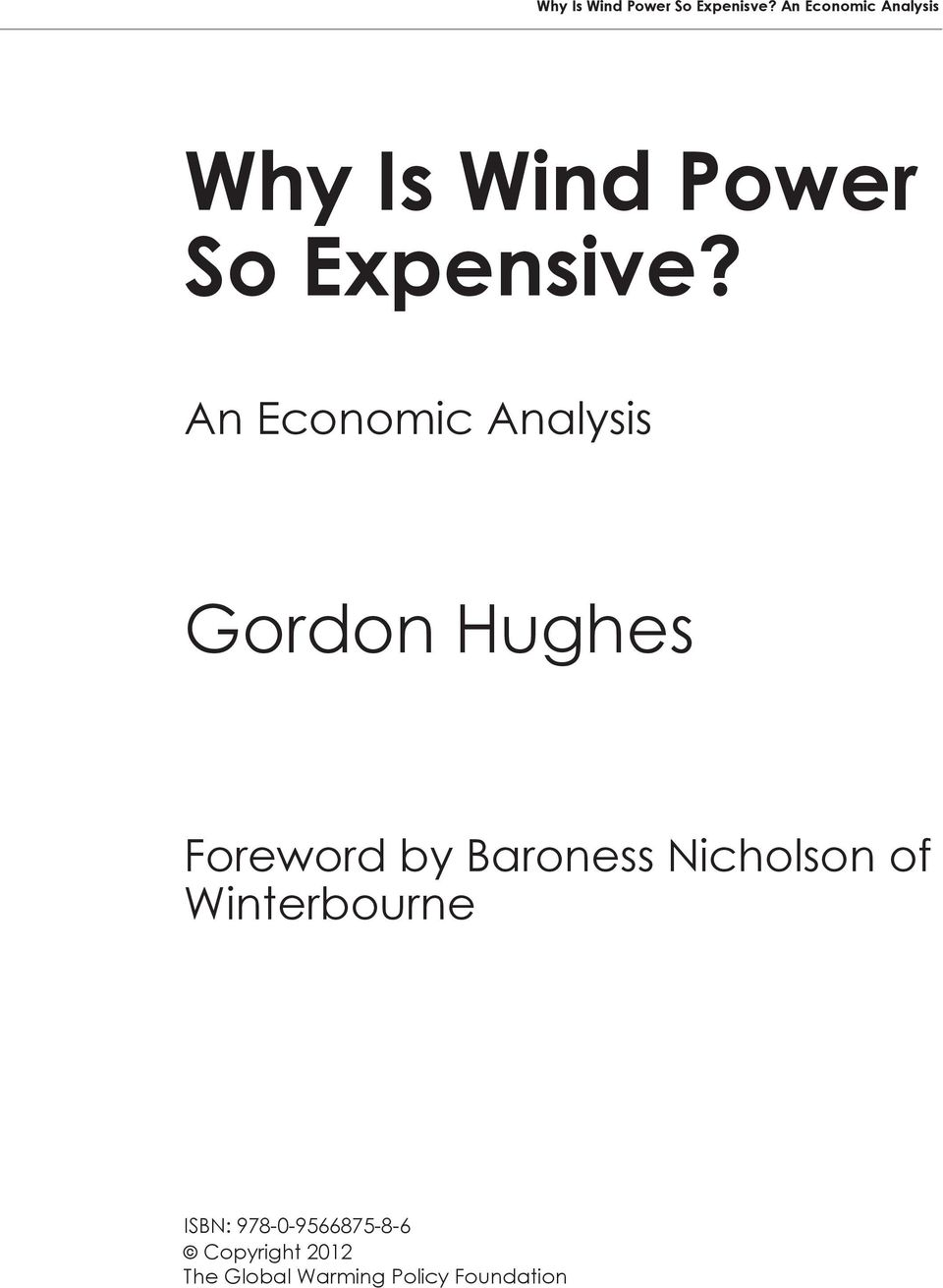An Economic Analysis Gordon Hughes Foreword by Baroness