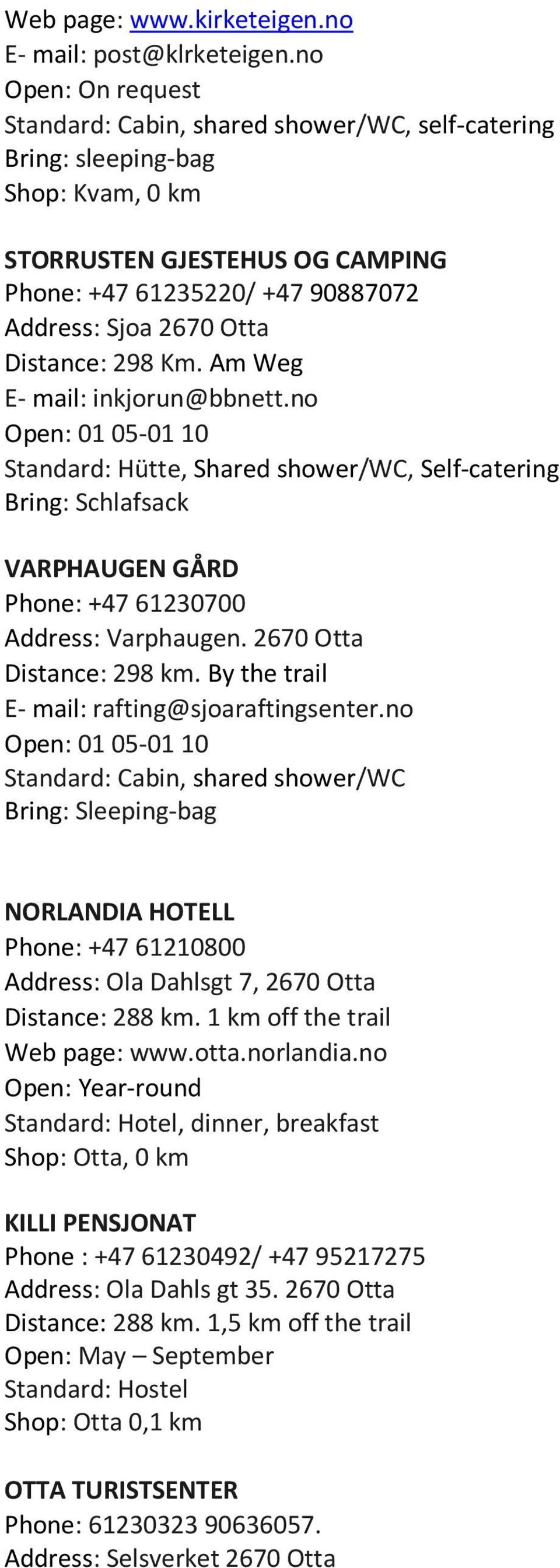 Distance: 298 Km. Am Weg E- mail: inkjorun@bbnett.no Open: 01 05-01 10 Standard: Hütte, Shared shower/wc, Self-catering Bring: Schlafsack VARPHAUGEN GÅRD Phone: +47 61230700 Address: Varphaugen.