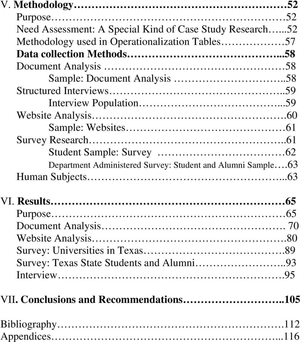 .61 Student Sample: Survey 62 Department Administered Survey: Student and Alumni Sample.63 Human Subjects...63 VI. Results 65 Purpose 65 Document Analysis.