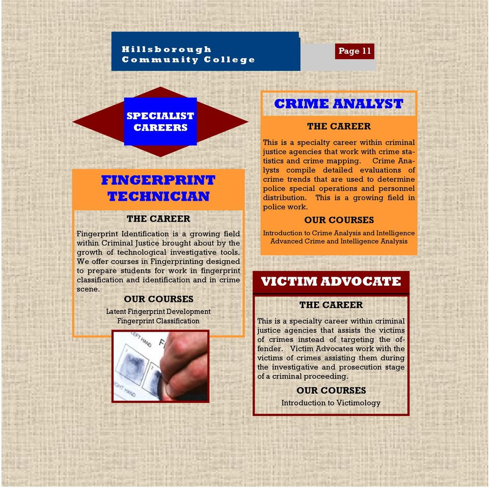 OUR COURSES Latent Fingerprint Development Fingerprint Classification CRIME ANALYST THE CAREER This is a specialty career within criminal justice agencies that work with crime statistics and crime