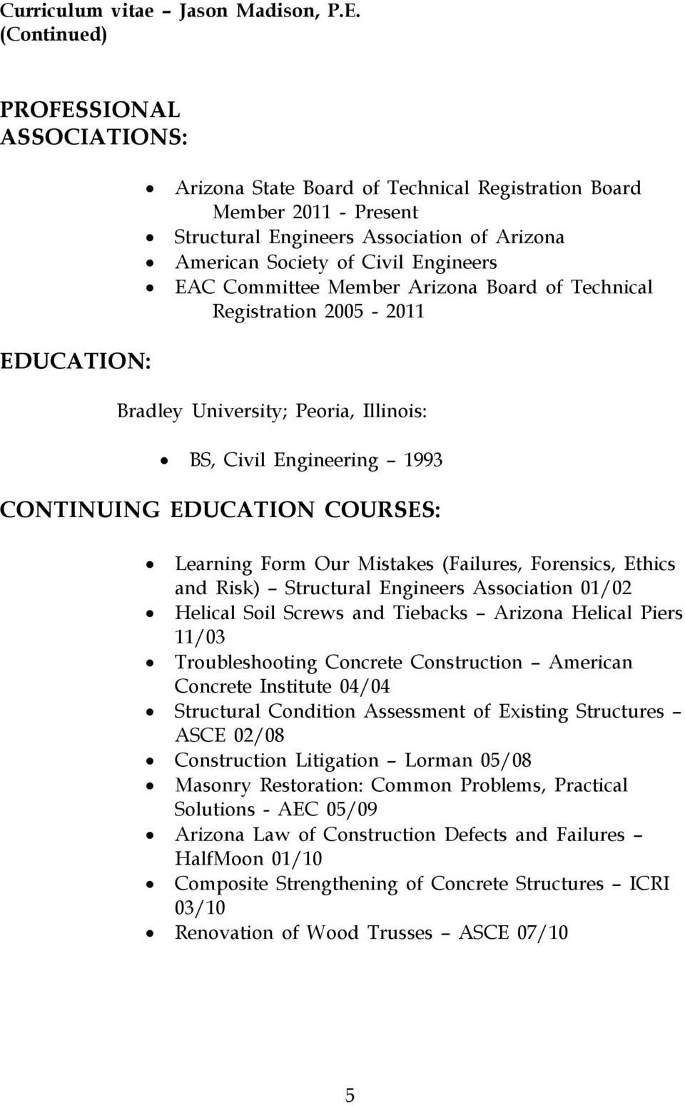 Ethics and Risk) Structural Engineers Association 01/02 Helical Soil Screws and Tiebacks Arizona Helical Piers 11/03 Troubleshooting Concrete Construction American Concrete Institute 04/04 Structural