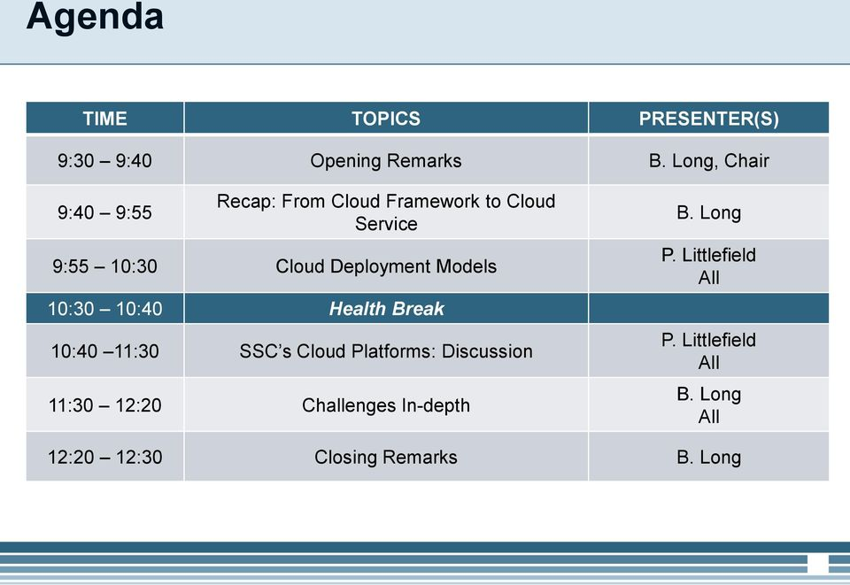 Deployment Models 10:30 10:40 Health Break 10:40 11:30 SSC s Cloud Platforms: Discussion