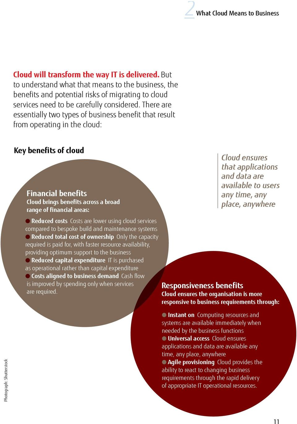 There are essentially two types of business benefit that result from operating in the cloud: Key benefits of cloud Financial benefits Cloud brings benefits across a broad range of financial areas: