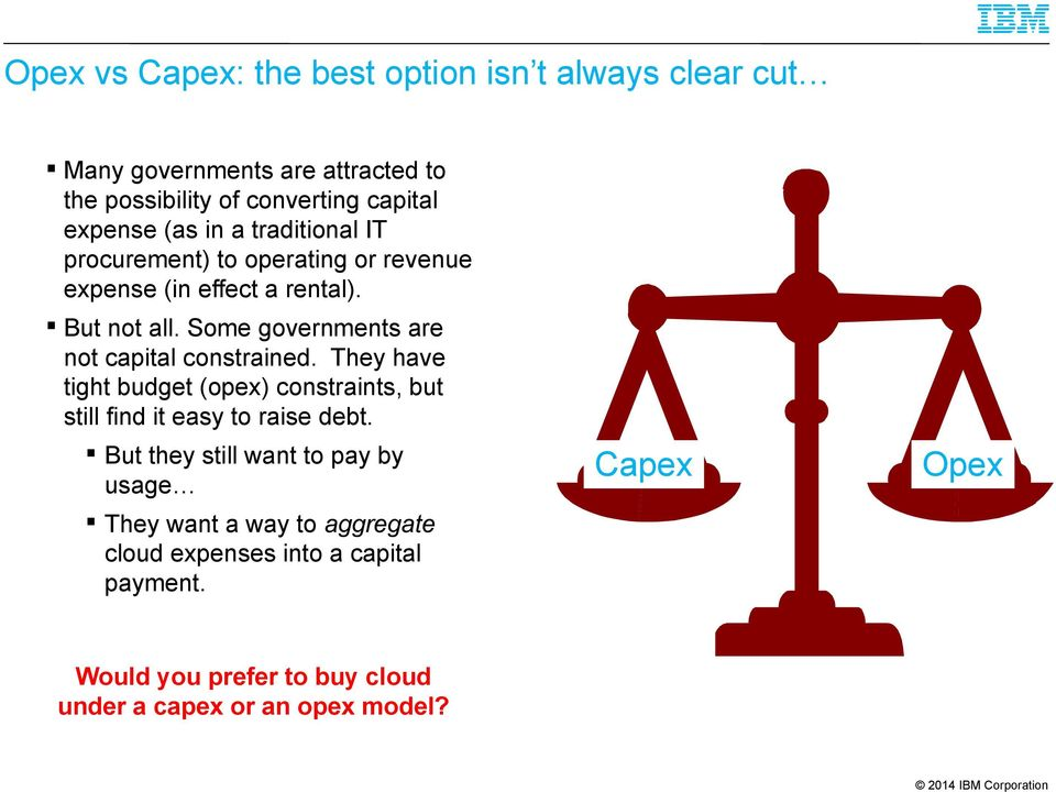Some governments are not capital constrained. They have tight budget (opex) constraints, but still find it easy to raise debt.