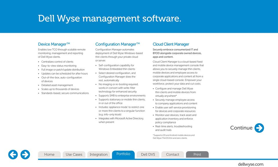 management Scales up to thousands of devices Standards-based, secure communications Configuration Manager automates deployment of Dell Wyse Windows-based thin s through your private cloud or server.