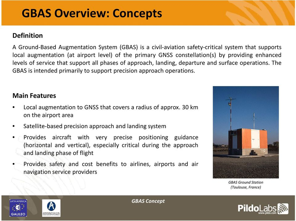 The GBAS is intended primarily to support precision approach operations. Main Features LocalaugmentationtoGNSSthatcoversaradiusofapprox.