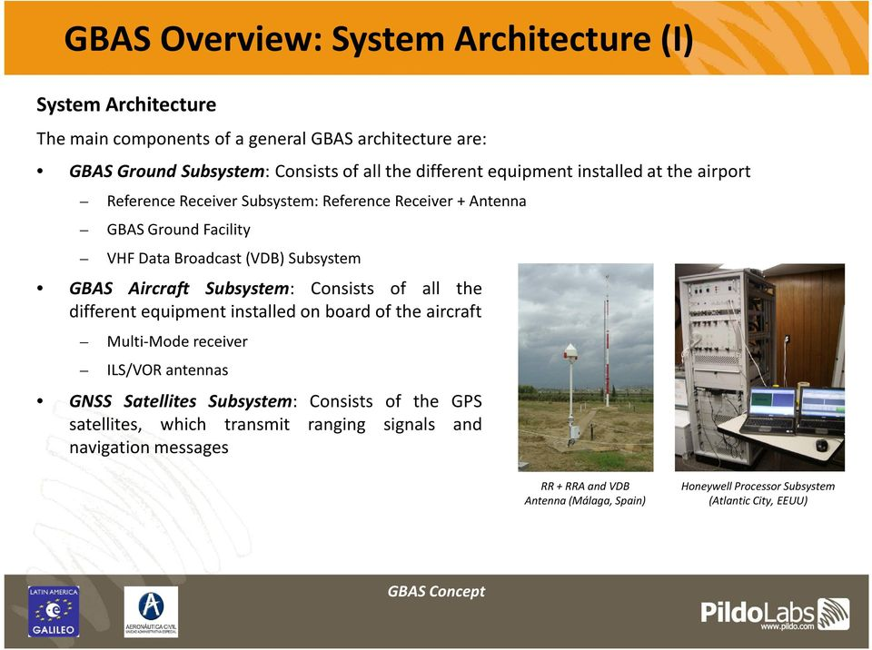 Aircraft Subsystem: Consists of all the different equipment installed on board of the aircraft Multi-Mode receiver ILS/VOR antennas GNSS Satellites Subsystem: