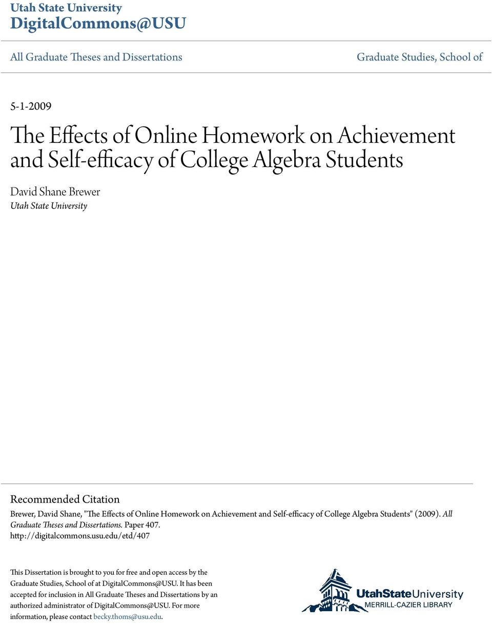 (2009). All Graduate Theses and Dissertations. Paper 407. http://digitalcommons.usu.