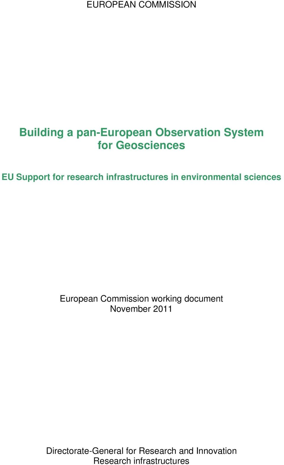 environmental sciences European Commission working document
