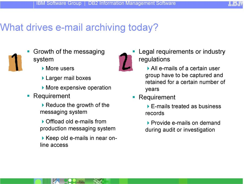 messaging system Offload old e-mails from production messaging system Keep old e-mails in near online access Legal requirements