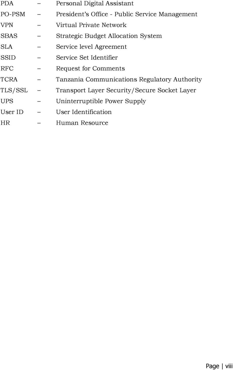 RFC Request for Comments TCRA Tanzania Communications Regulatory Authority TLS/SSL Transport Layer