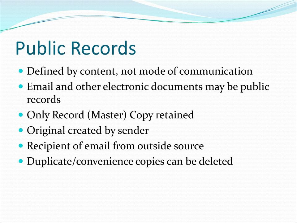 Record (Master) Copy retained Original created by sender