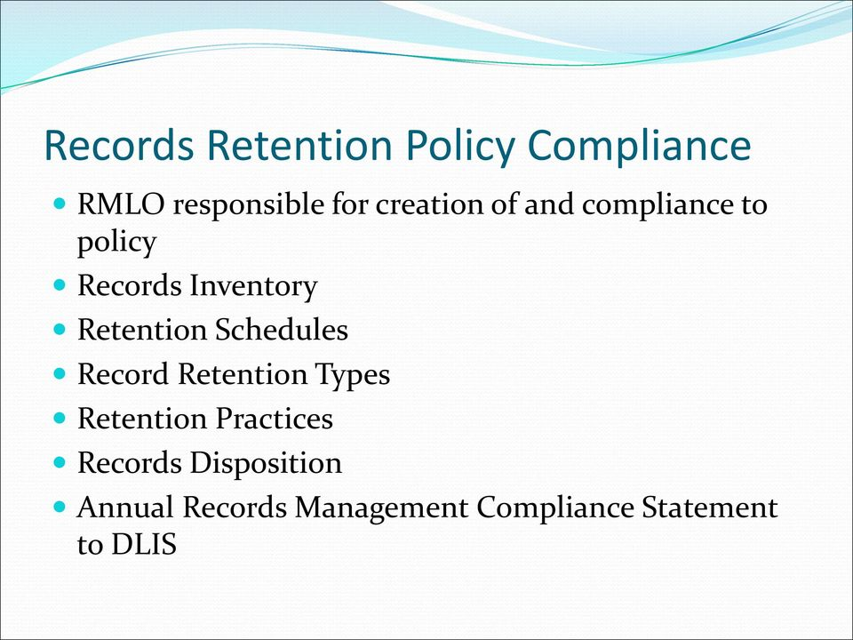 Retention Schedules Record Retention Types Retention Practices