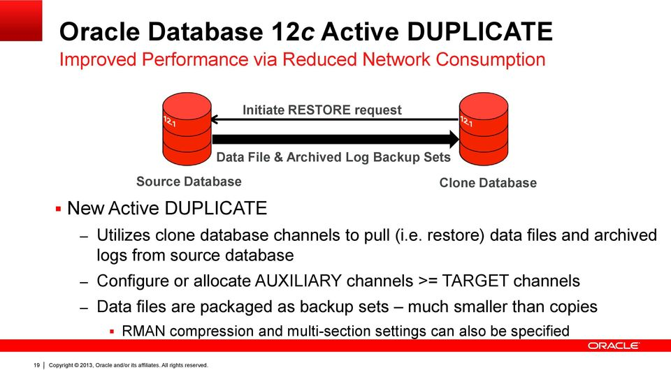 e. restore) data files and archived logs from source database Configure or allocate AUXILIARY channels >= TARGET channels