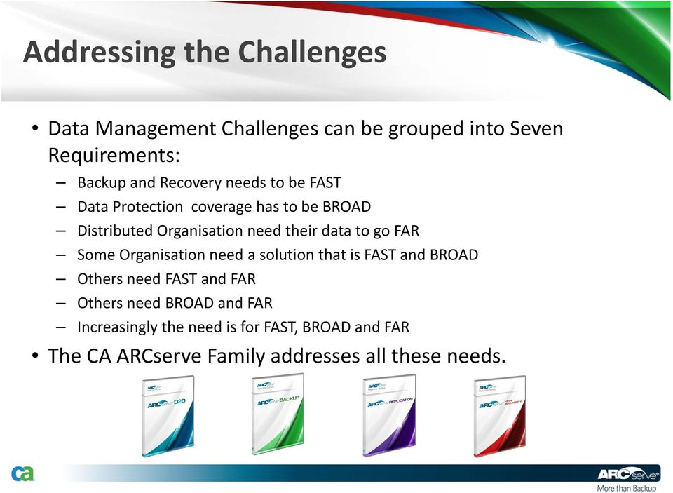 data to go FAR Some Organisation need a solution that is FAST and BROAD Others need FAST and FAR Others