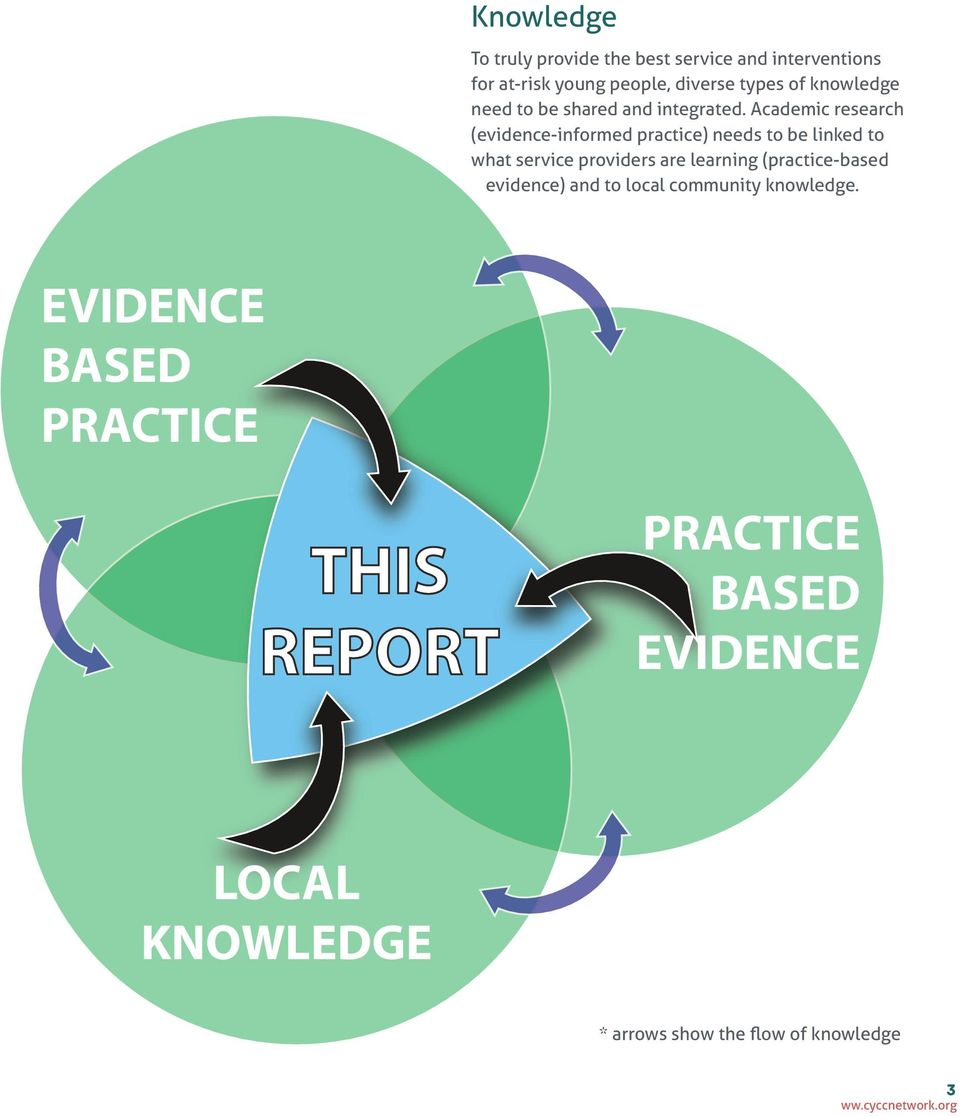 Academic research (evidence-informed practice) needs to be linked to what service providers are learning (practice-based