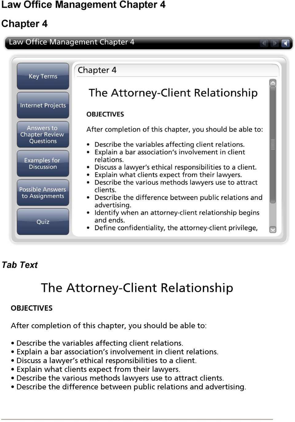 Explain a bar association s involvement in client relations. Discuss a lawyer s ethical responsibilities to a client.
