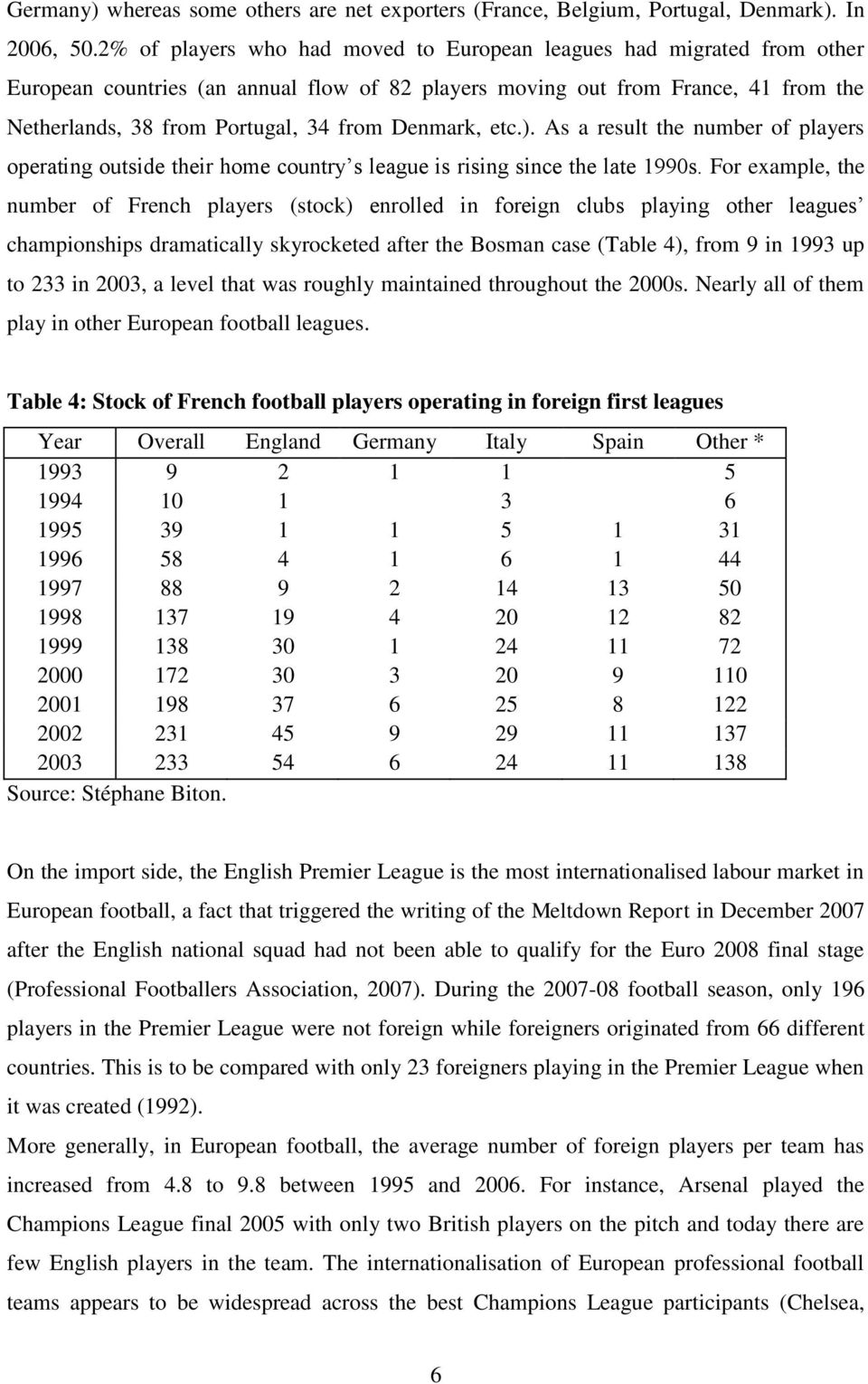 Denmark, etc.). As a result the number of players operating outside their home country s league is rising since the late 1990s.