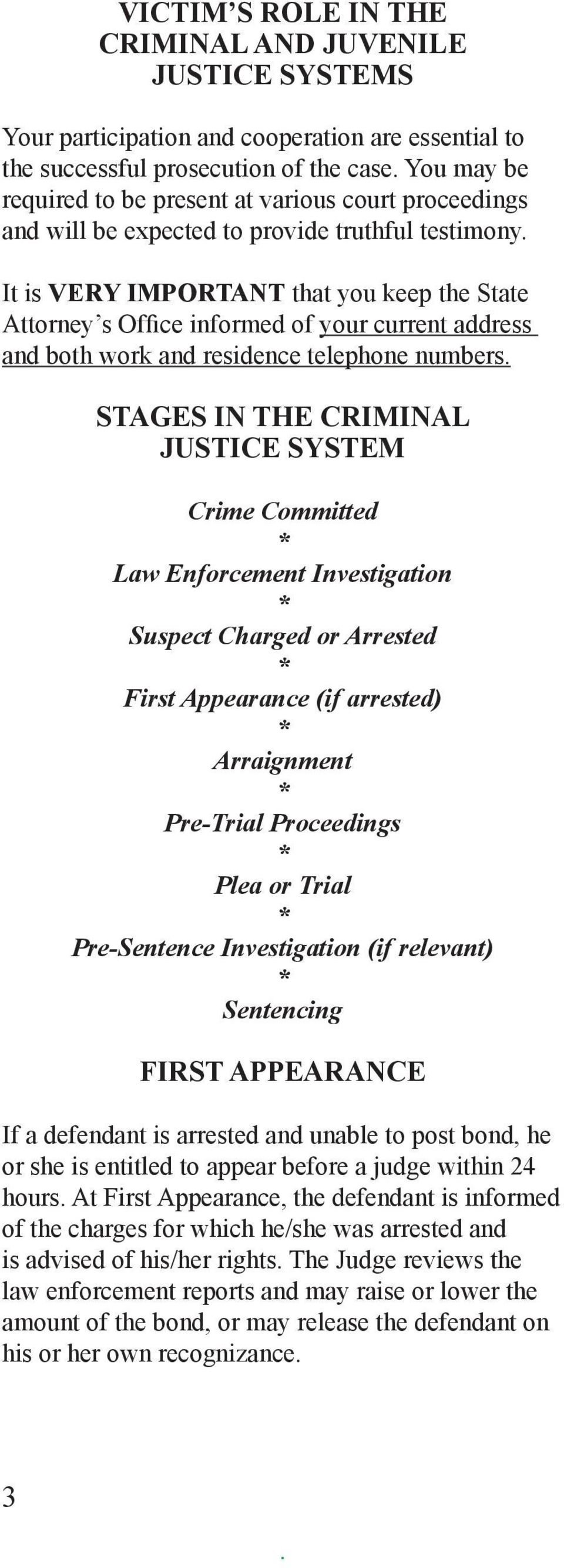telephone numbers STAGES IN THE CRIMINAL JUSTICE SYSTEM Crime Committed * Law Enforcement Investigation * Suspect Charged or Arrested * First Appearance (if arrested) * Arraignment * Pre-Trial