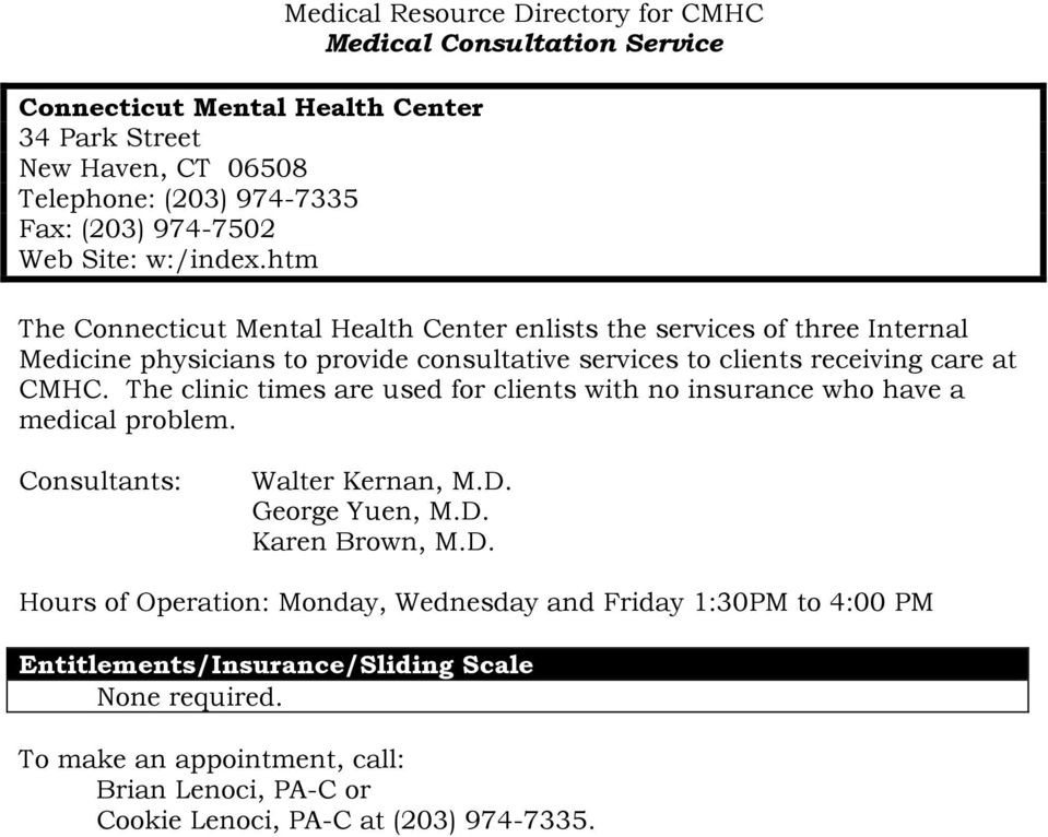 The Connecticut Mental Health Center Clinical Resource Directory Pdf
