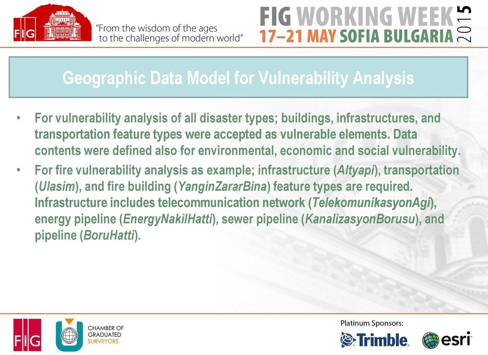 For fire vulnerability analysis as example; infrastructure (Altyapi), transportation (Ulasim), and fire building (YanginZararBina) feature types are