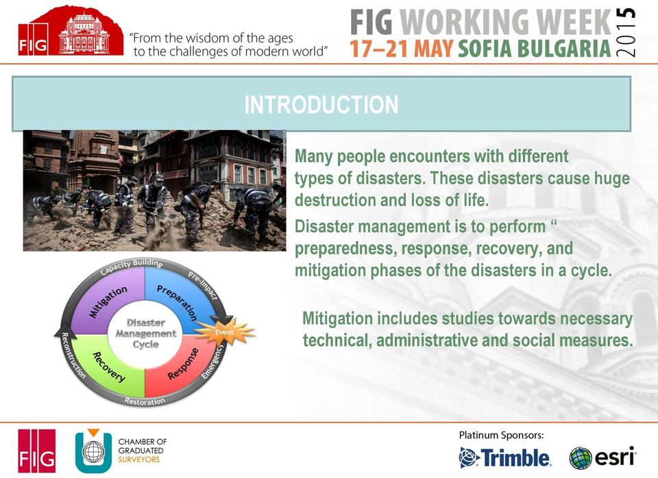 Disaster management is to perform preparedness, response, recovery, and mitigation