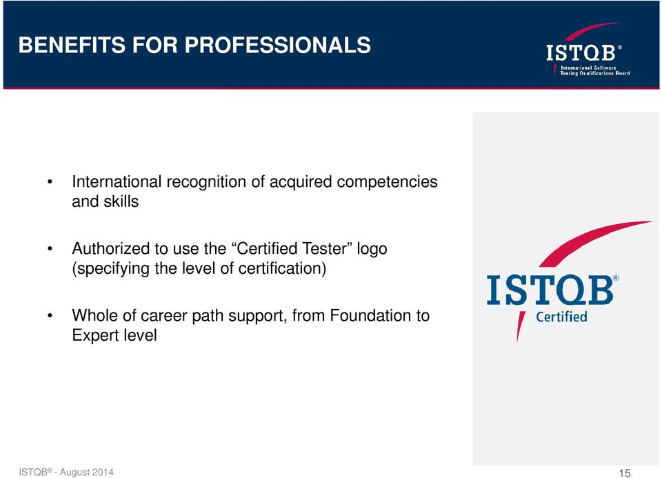 logo (specifying the level of certification) Whole of career