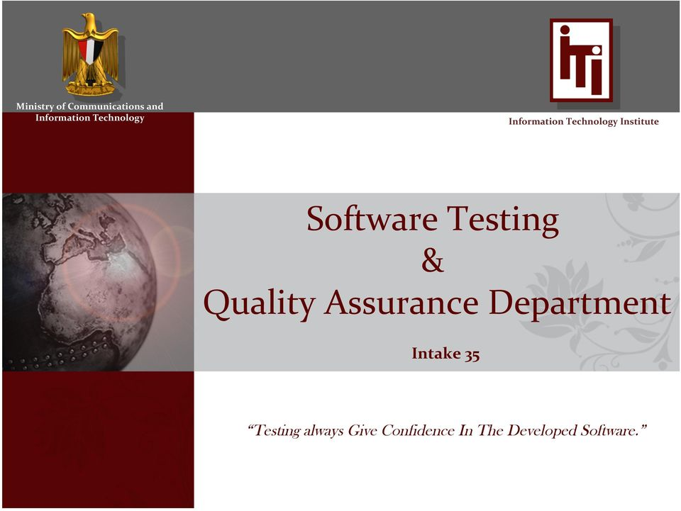 Software Testing & Quality Assurance Department