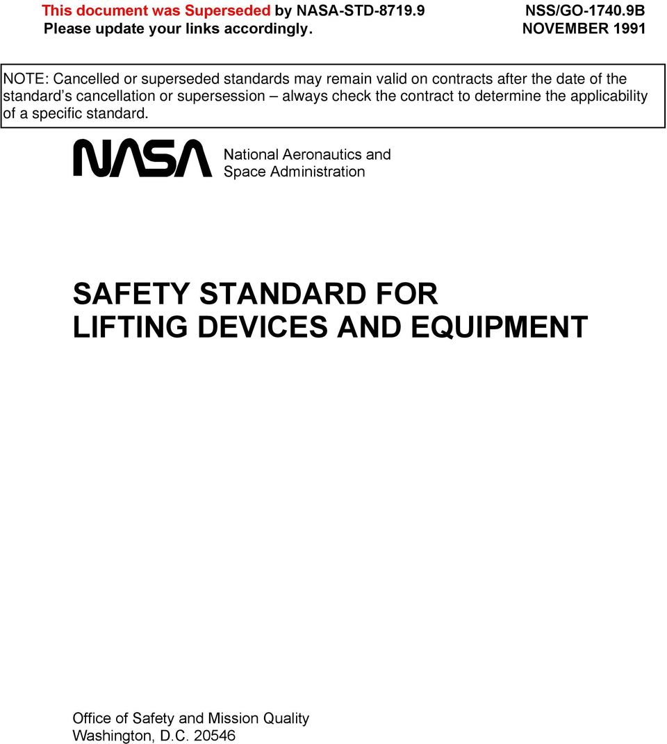 NOVEMBER 1991 National Aeronautics and Space Administration SAFETY