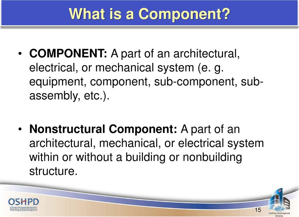 g. equipment, component, sub-component, subassembly, etc.).