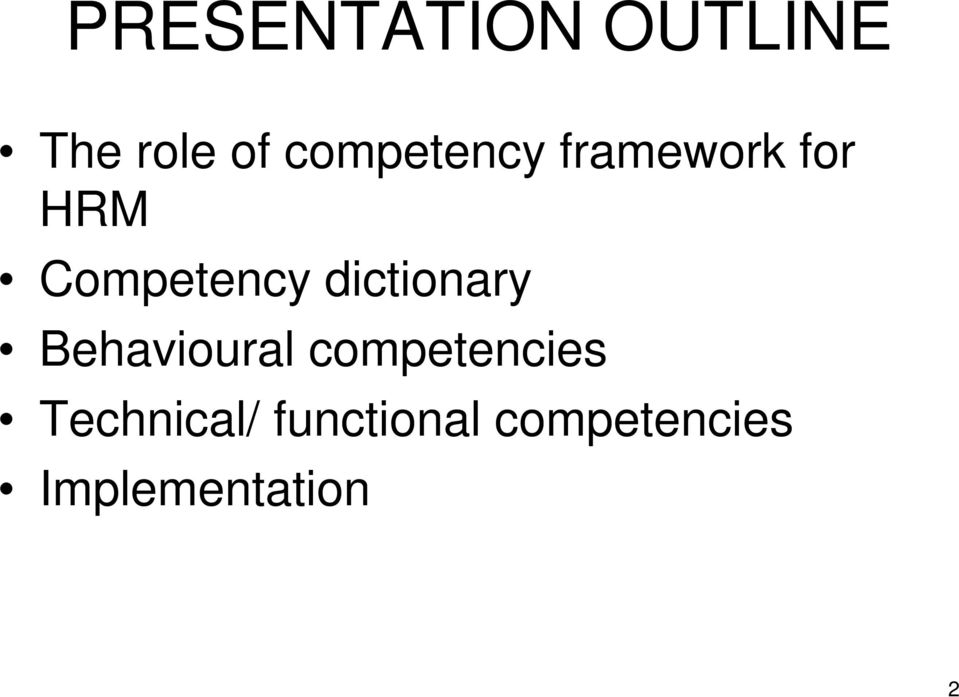 dictionary Behavioural competencies