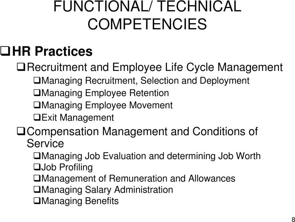 Management Compensation Management and Conditions of Service Managing Job Evaluation and determining Job