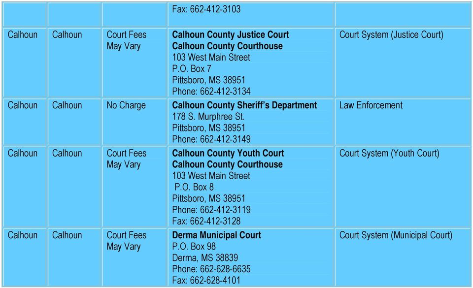 Pittsboro, MS 38951 Phone: 662-412-3149 Calhoun Calhoun Court Fees May Vary Calhoun Calhoun Court Fees May Vary Calhoun County Youth Court Calhoun County Courthouse 103 West