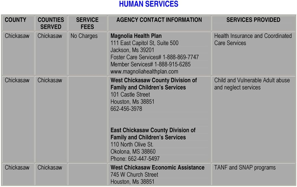 com Chickasaw Chickasaw West Chickasaw County Division of Family and Children s Services 101 Castle Street Houston, Ms 38851 662-456-3978 Health Insurance and Coordinated