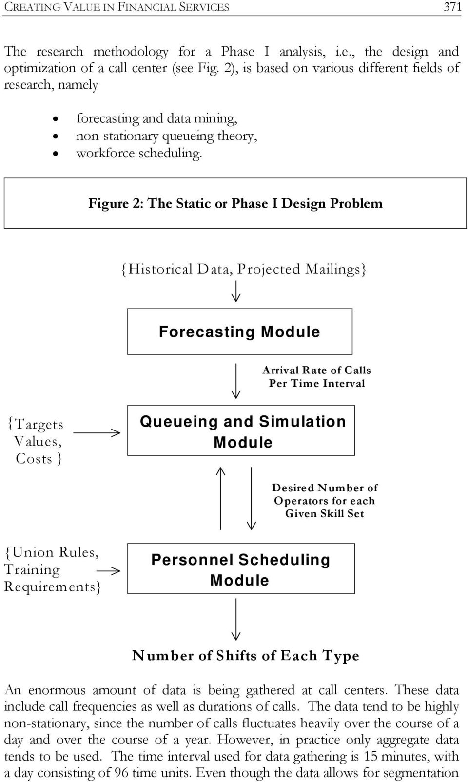 Figure 2: The Static or Phase I Design Problem {Historical Data, Projected Mailings} Forecasting Module Arrival Rate of Calls Per Time Interval { Targets Values, Costs } Queueing and Simulation