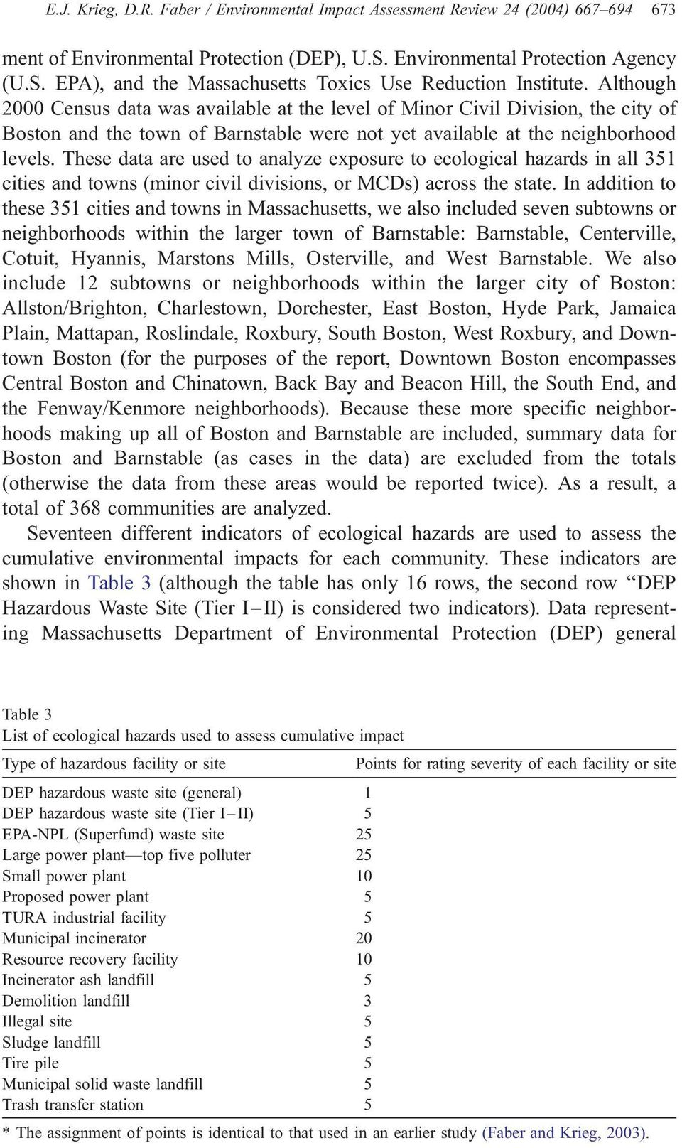 These data are used to analyze exposure to ecological hazards in all 351 cities and towns (minor civil divisions, or MCDs) across the state.