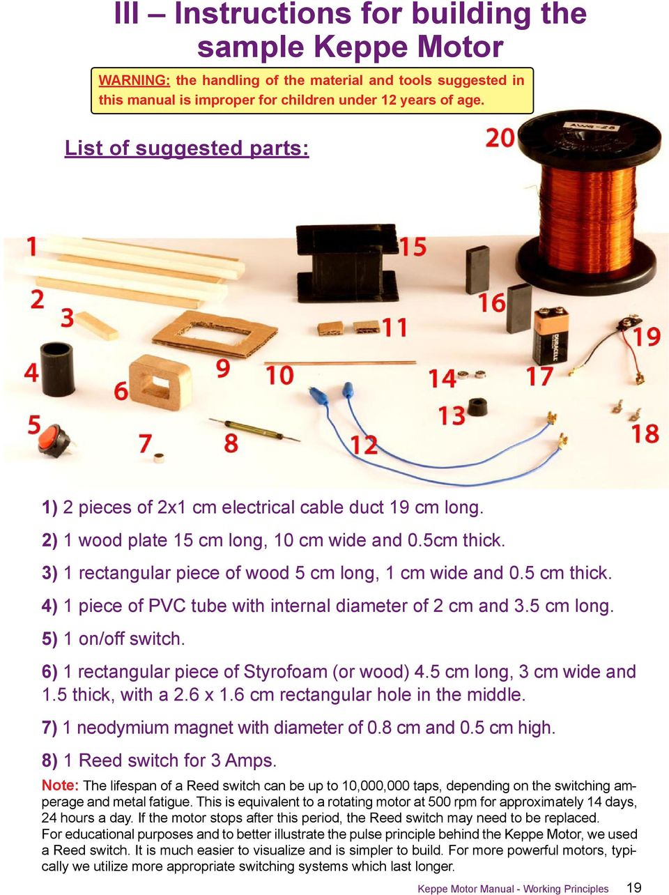 5 cm thick. 4) 1 piece of PVC tube with internal diameter of 2 cm and 3.5 cm long. 5) 1 on/off switch. 6) 1 rectangular piece of Styrofoam (or wood) 4.5 cm long, 3 cm wide and 1.5 thick, with a 2.