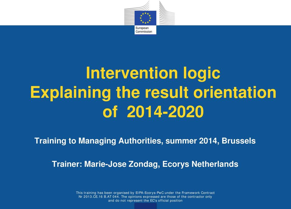 Managing Authorities, summer 2014,
