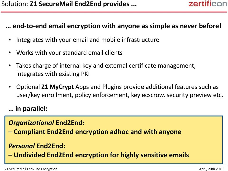 management, integrates with existing PKI Optional Z1 MyCrypt Apps and Plugins provide additional features such as user/key enrollment, policy