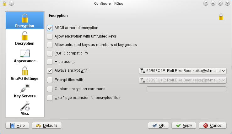 3.7.1 Encryption Here you can configure special options to be passed to GnuPG to change the encryption behavior. For detailed description please have a look at the GnuPG manual.