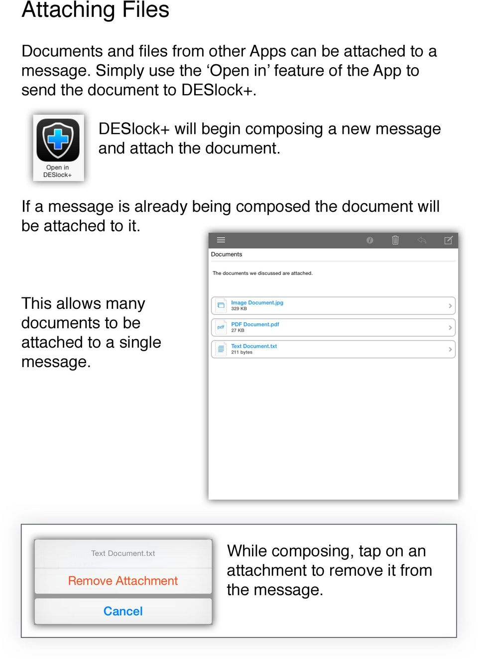 DESlock+ will begin composing a new message and attach the document.