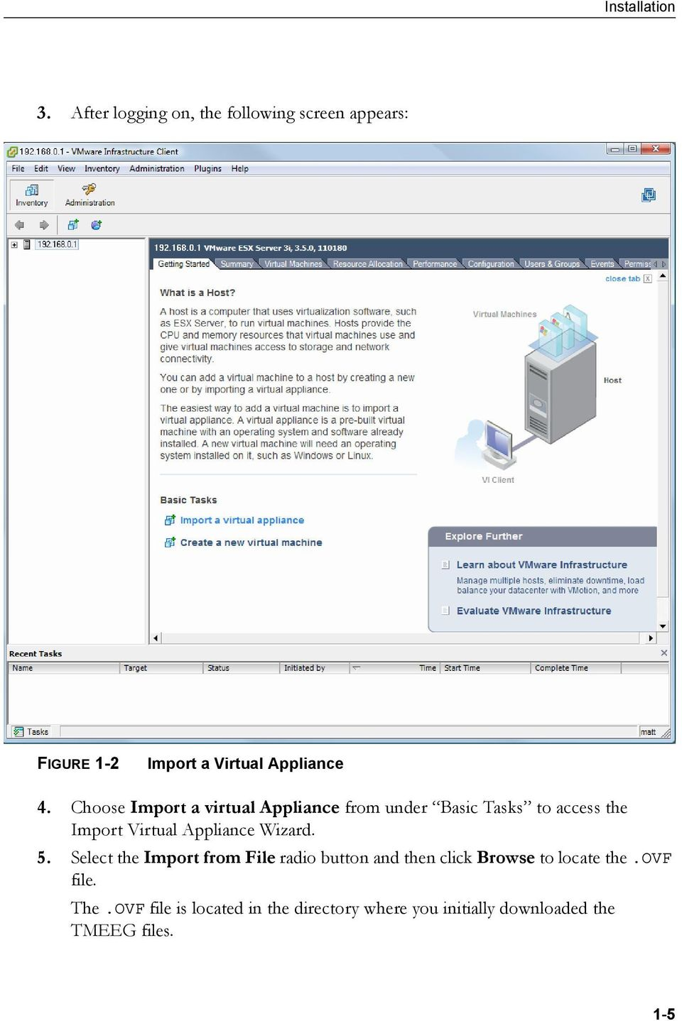Choose Import a virtual Appliance from under Basic Tasks to access the Import Virtual Appliance