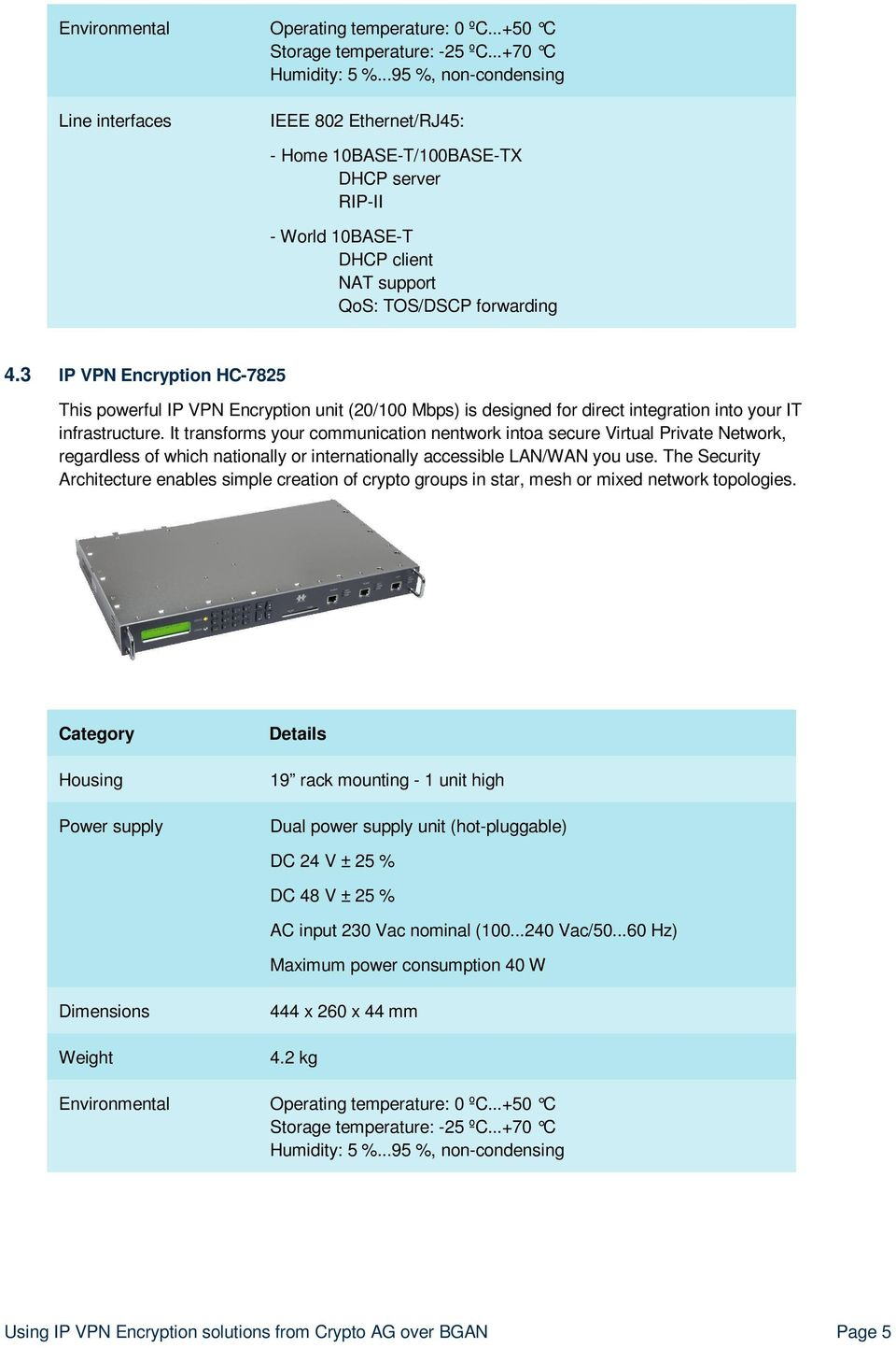 3 IP VPN Encryption HC-7825 This powerful IP VPN Encryption unit (20/100 Mbps) is designed for direct integration into your IT infrastructure.
