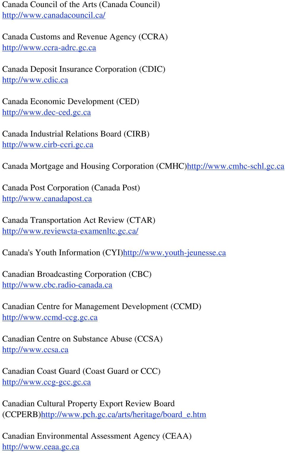 cmhc-schl.gc.ca Canada Post Corporation (Canada Post) http://www.canadapost.ca Canada Transportation Act Review (CTAR) http://www.reviewcta-examenltc.gc.ca/ Canada's Youth Information (CYI)http://www.