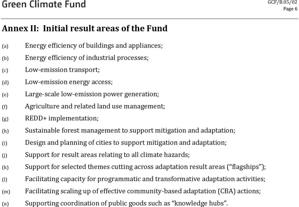 support mitigation and adaptation; Design and planning of cities to support mitigation and adaptation; Support for result areas relating to all climate hazards; Support for selected themes cutting