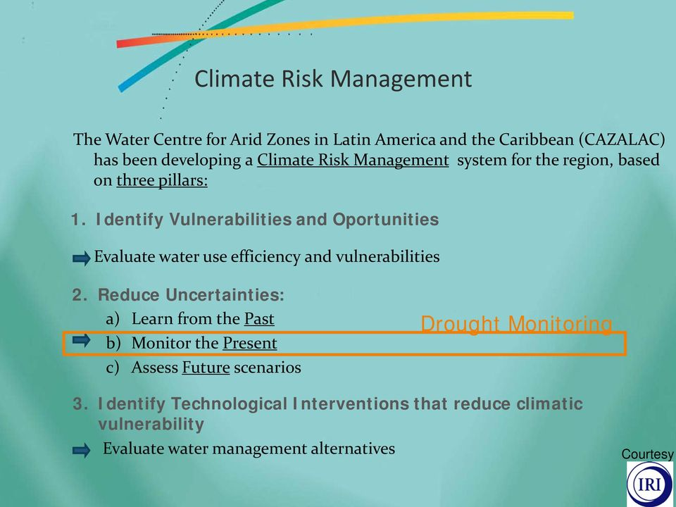 Identify Vulnerabilities and Oportunities Evaluate water use efficiency and vulnerabilities 2.